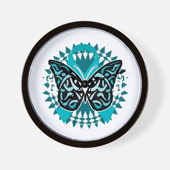 PCOS-Butterfly-Tribal-2-blk Wall Clock