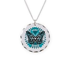 PCOS-Butterfly-Tribal-2-blk Necklace Circle Charm