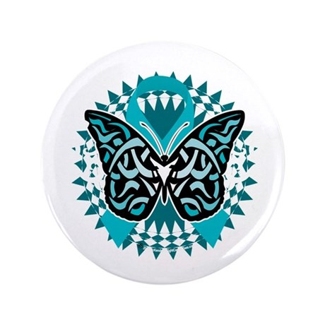 """PCOS-Butterfly-Tribal-2-blk 3.5"""" Button"""