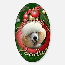DeckHalls_Poodles_Apricot Sticker (Oval)