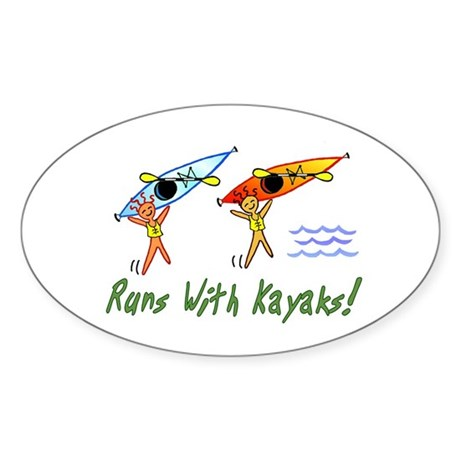 Runs with Kayaks Oval Sticker
