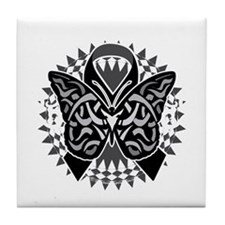 Skin-Cancer-Tribal-Butterfly-blk Tile Coaster