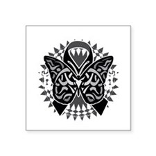 "Skin-Cancer-Tribal-Butterfl Square Sticker 3"" x 3"""
