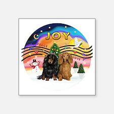 "XMusic2-Two Long H. Dachshu Square Sticker 3"" x 3"""