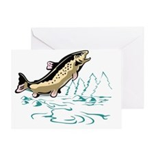 trout fish jumping Greeting Card