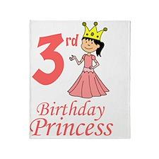 Birthday Princess Third Birthday Throw Blanket