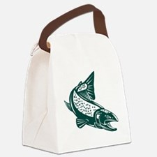 trout fish jumping Canvas Lunch Bag
