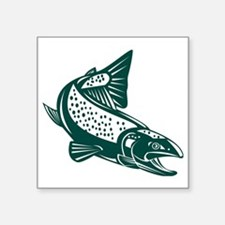"""trout fish jumping Square Sticker 3"""" x 3"""""""