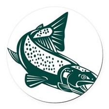 trout fish jumping Round Car Magnet