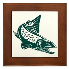 trout fish jumping Framed Tile