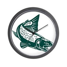 trout fish jumping Wall Clock