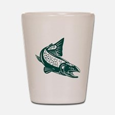 trout fish jumping Shot Glass