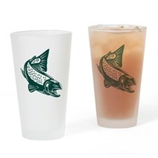 trout fish jumping Drinking Glass