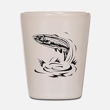 trout fish jumping woodcut Shot Glass
