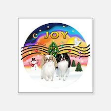 "Music2-2Jap Chins (Lem+BW) Square Sticker 3"" x 3"""