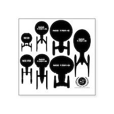 "Starship Enterprise History Square Sticker 3"" x 3"""