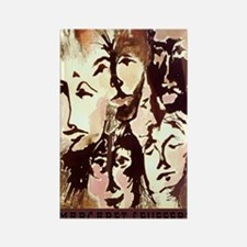 races and faces postcard Rectangle Magnet