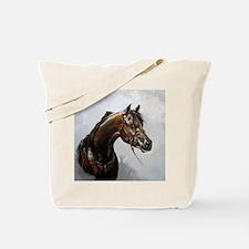 Black Arab Horse Portrait Tote Bag