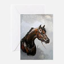 Black Arab Horse Portrait Greeting Card
