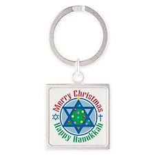 Christmas-Hanukkah Square Keychain