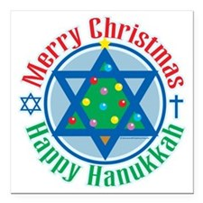 "Christmas-Hanukkah Square Car Magnet 3"" x 3"""