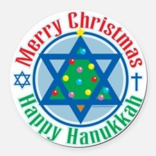 Christmas-Hanukkah Round Car Magnet