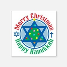 "Christmas-Hanukkah Square Sticker 3"" x 3"""
