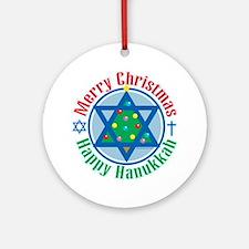 Christmas-Hanukkah Round Ornament