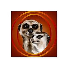 "Meerkat Couple-circle Square Sticker 3"" x 3"""