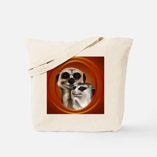 Meerkat Couple-circle Tote Bag