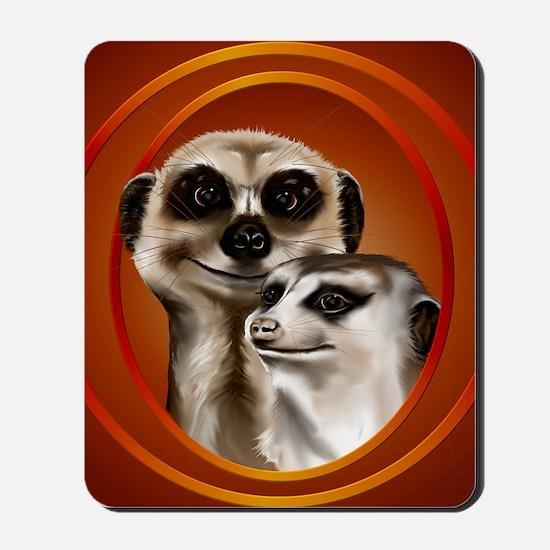Meerkat Couple-circle Mousepad