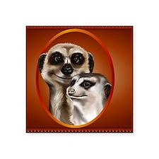 "Meerkat Couple_mpad Square Sticker 3"" x 3"""