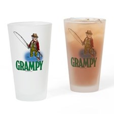 Grampy fly fishing CP Drinking Glass