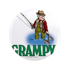 """Grampy fly fishing CP 3.5"""" Button"""