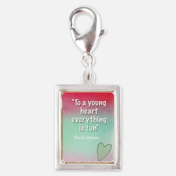young-heart-card Silver Portrait Charm