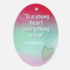 young-heart-card Oval Ornament