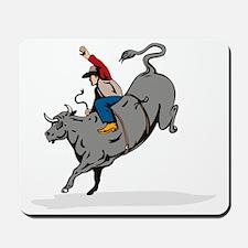 Rodeo cowboy bull riding Mousepad