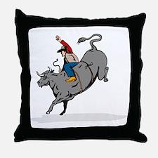 Rodeo cowboy bull riding Throw Pillow