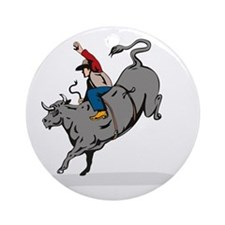 Rodeo cowboy bull riding Round Ornament