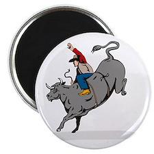 Rodeo cowboy bull riding Magnet