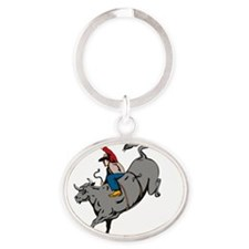 Rodeo cowboy bull riding Oval Keychain