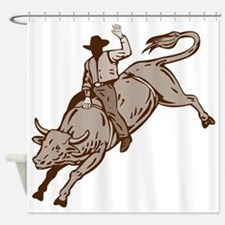 Rodeo cowboy bull riding Shower Curtain