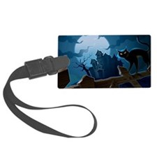 bluemooncatfence_miniposter_12x1 Luggage Tag