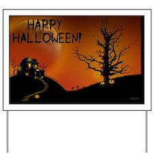 halloweenhouseorangemoon_mini poster_12x Yard Sign