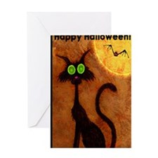 happyhalloweenscardycat_mini poster_ Greeting Card