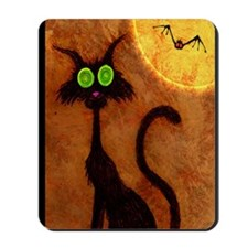 happyhalloweenscardycat_mini poster_12x1 Mousepad