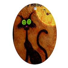 happyhalloweenscardycat_mini poster_ Oval Ornament