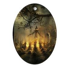 scarecrowgatheringvert_mini poster_1 Oval Ornament