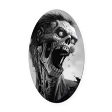 screamingzombievert_mini poster_12 Oval Car Magnet