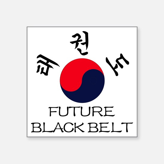 "TKD Future Black Belt Um-Ya Square Sticker 3"" x 3"""